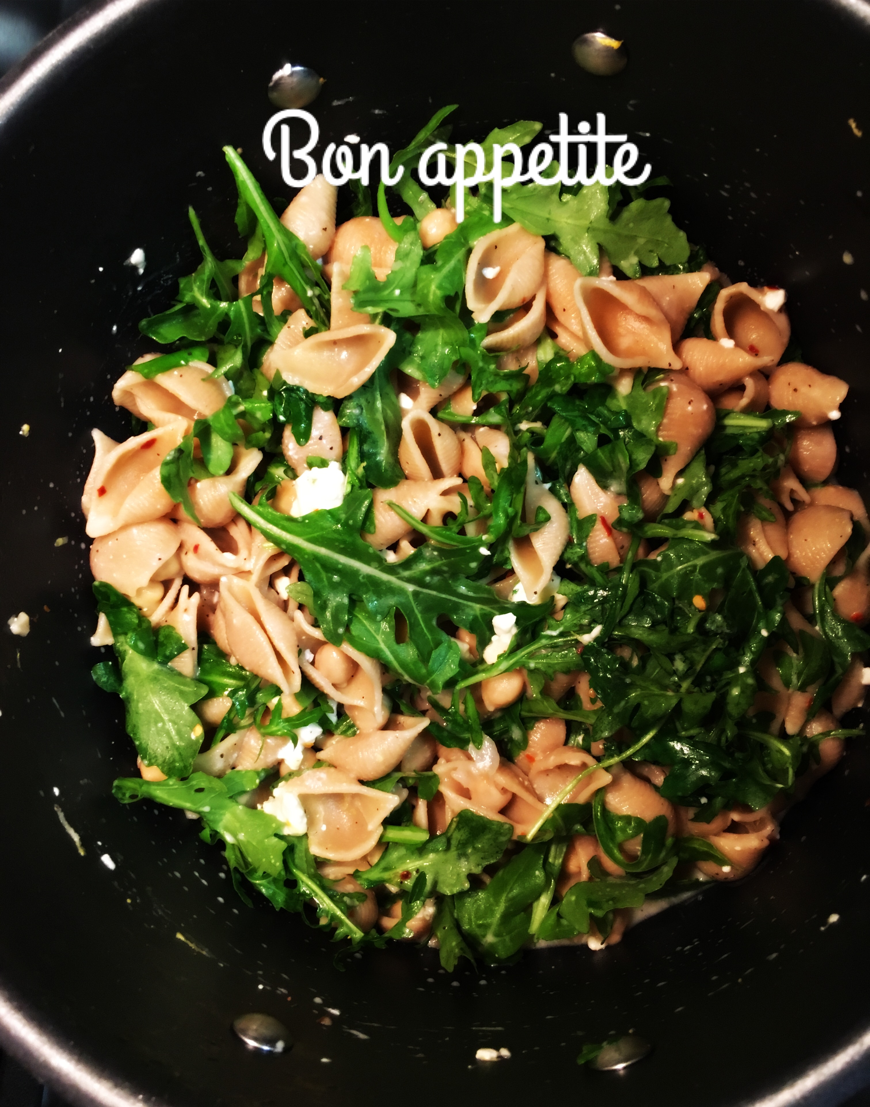 Chickpea Arugula Shells and Cheese – Nat Flad